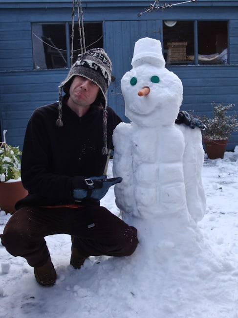 Simon with snowman