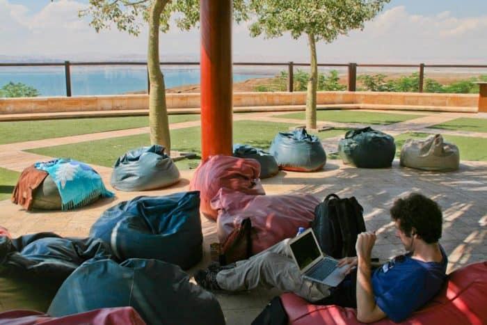Simon working at the Dead Sea, Jordan