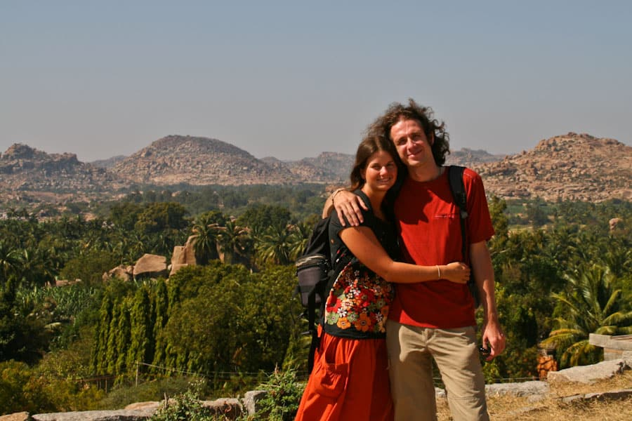 Us in Hampi, India on our RTW trip