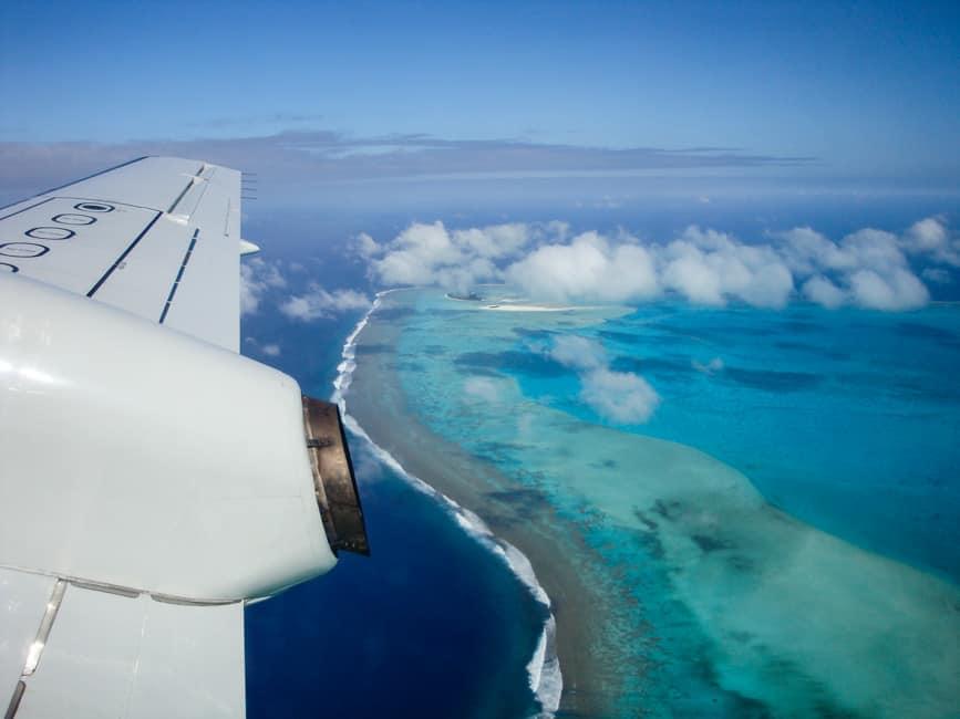 Flying over Aitutaki, Cook Islands