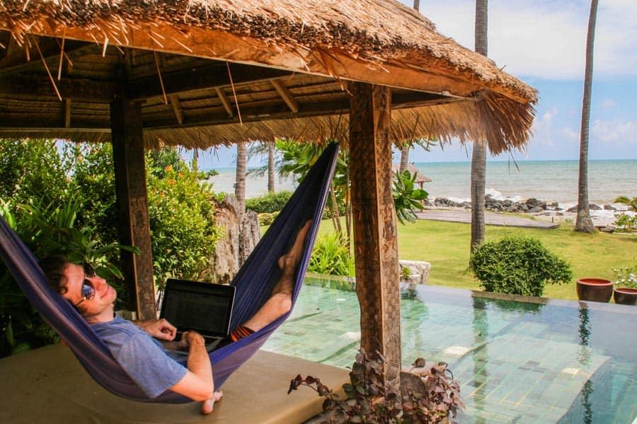"Simon ""working"" in a hammock on Koh Lanta, Thailand"