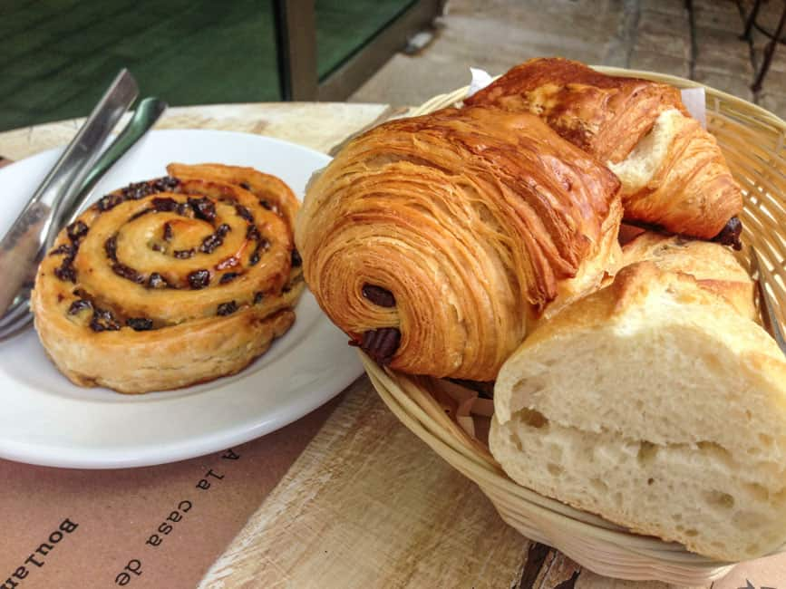 Breakfast pastries and baguette at Chez Celine