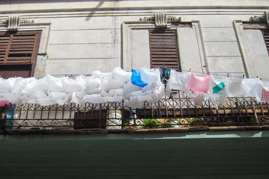 Plastic bags drying on line in Havana