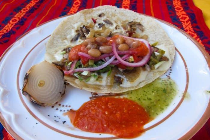 Vegetarian Mexico: Cheese & mushroom quesadilla