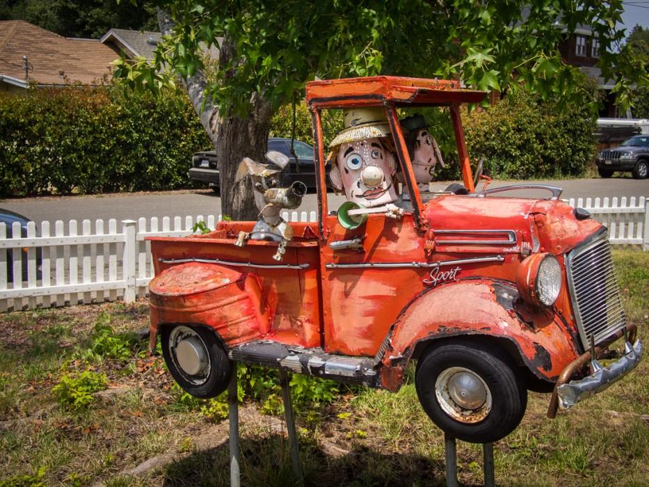 Old truck with dog, Patrick Amiot junk sculpture, Florence Avenue, Sebastopol