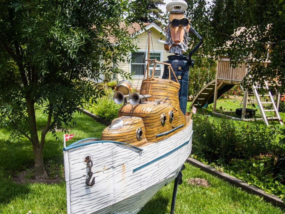 Boat, Patrick Amiot junk sculpture, Florence Avenue, Sebastopol