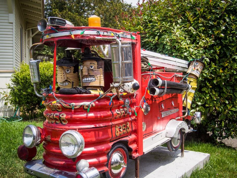 Fire engine, Patrick Amiot junk sculpture, Florence Avenue, Sebastopol