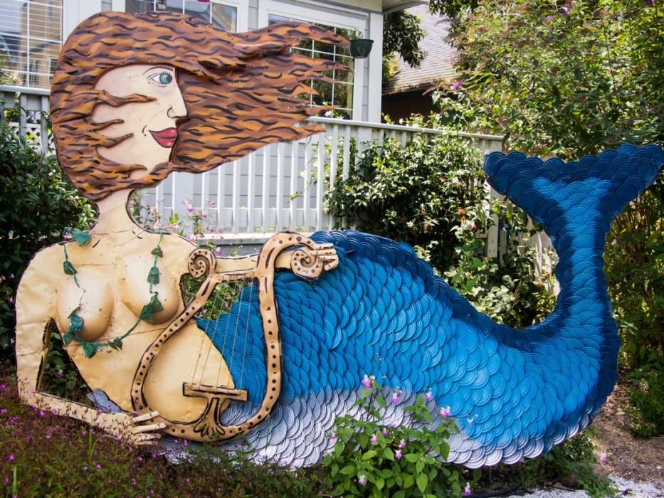 Mermaid, Patrick Amiot junk sculpture, Florence Avenue, Sebastopol
