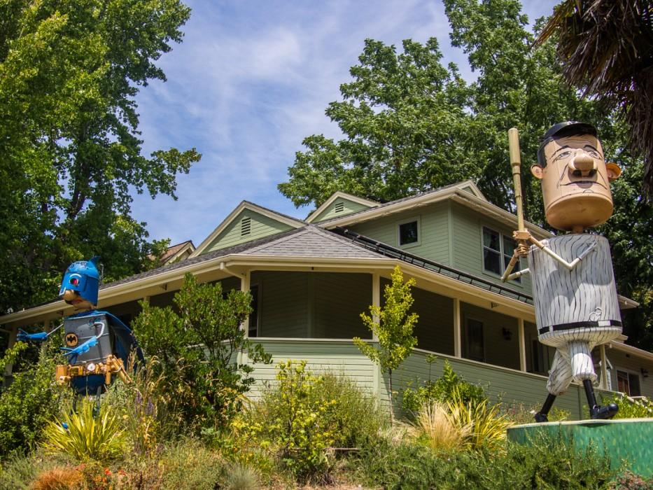 Superhero and baseball player, Patrick Amiot junk sculpture, Florence Avenue, Sebastopol
