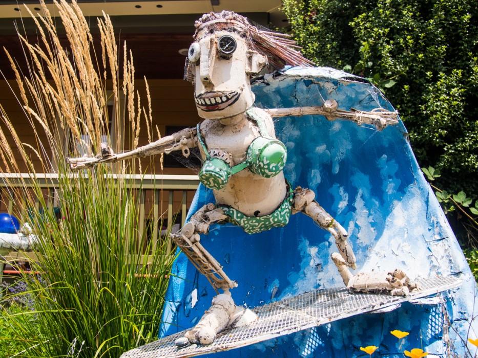 Surfer, Patrick Amiot junk sculpture, Florence Avenue, Sebastopol