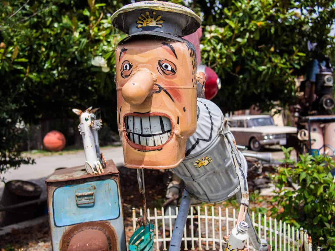 Milkman, Patrick Amiot Junk Metal Sculpture at Renga Arts, Sebastopol