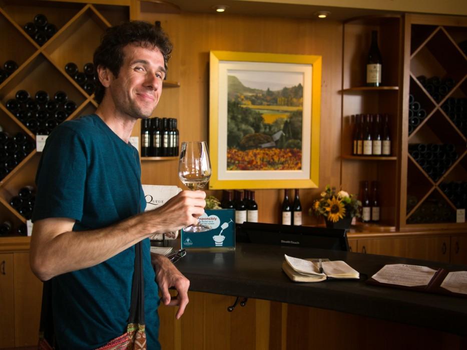 Simon wine tasting at Quivira, Sonoma