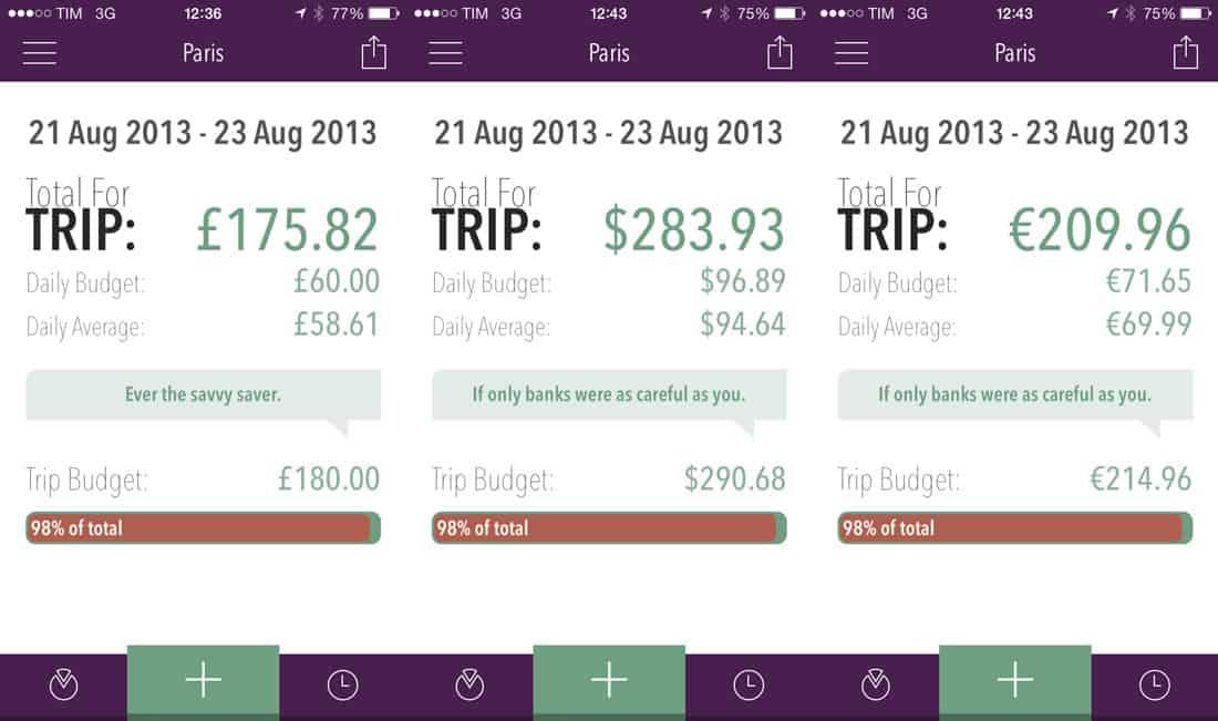 Trail Wallet summary screen