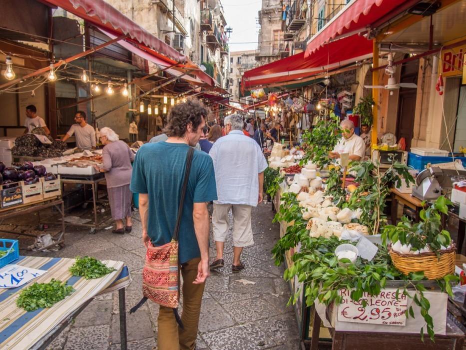 Cheese stall at Ballaro market, Palermo