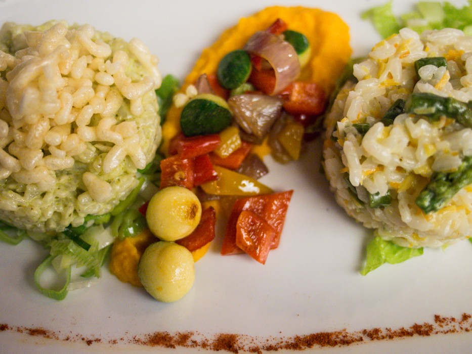 Pesto risotto and vegetable risotto at Bled Castle