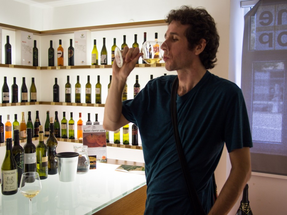 Simon tasting many local wines at the Vipava wine museum