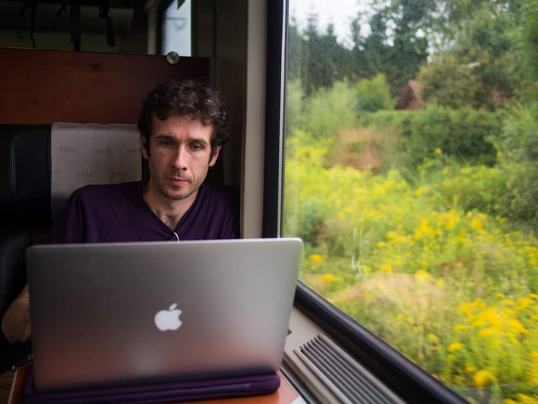 Simon working on a train through Austria