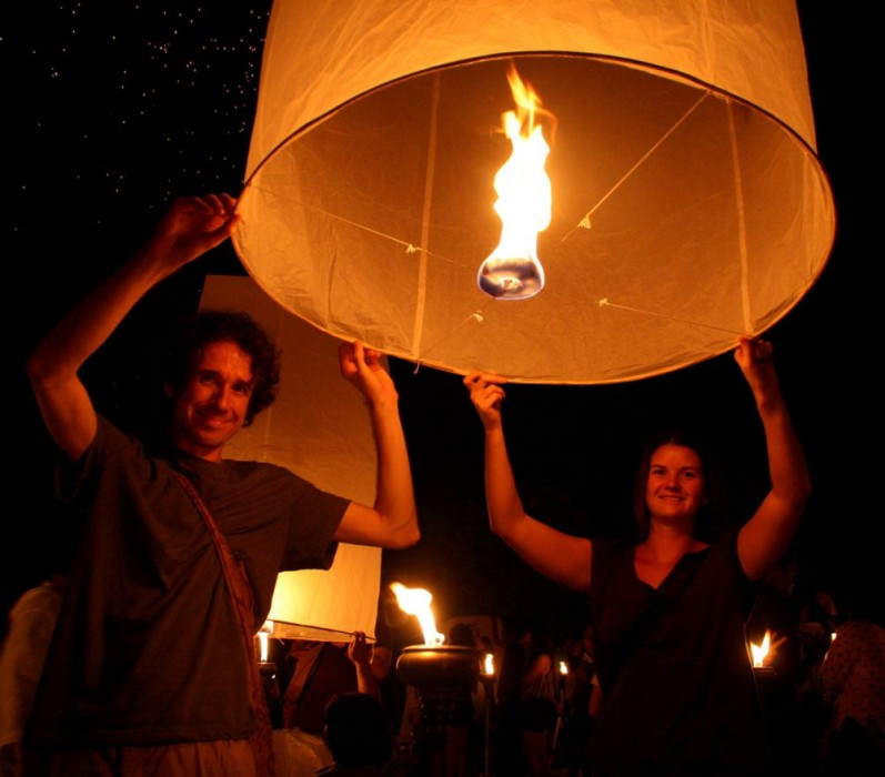 Releasing a lantern at the Yee Peng Festival, Chiang Mai