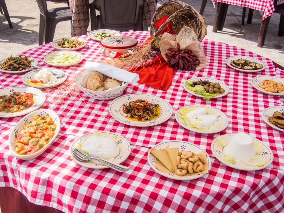 Antipasti spread at the Corigliano d'Otranto castle restaurant.