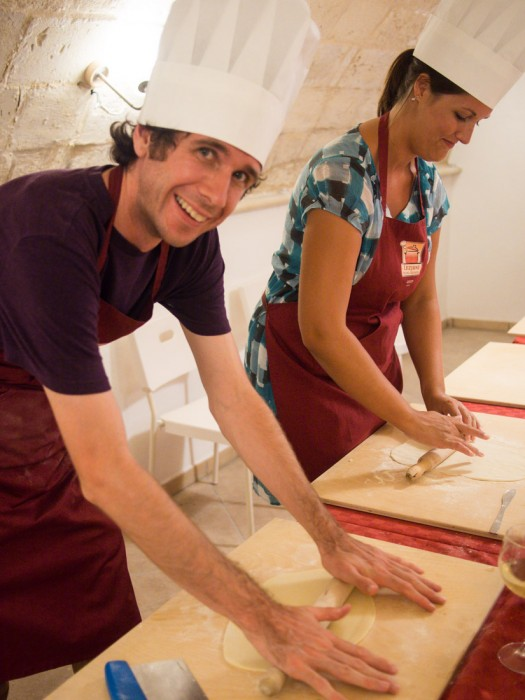 Simon showing off his pasta making skills