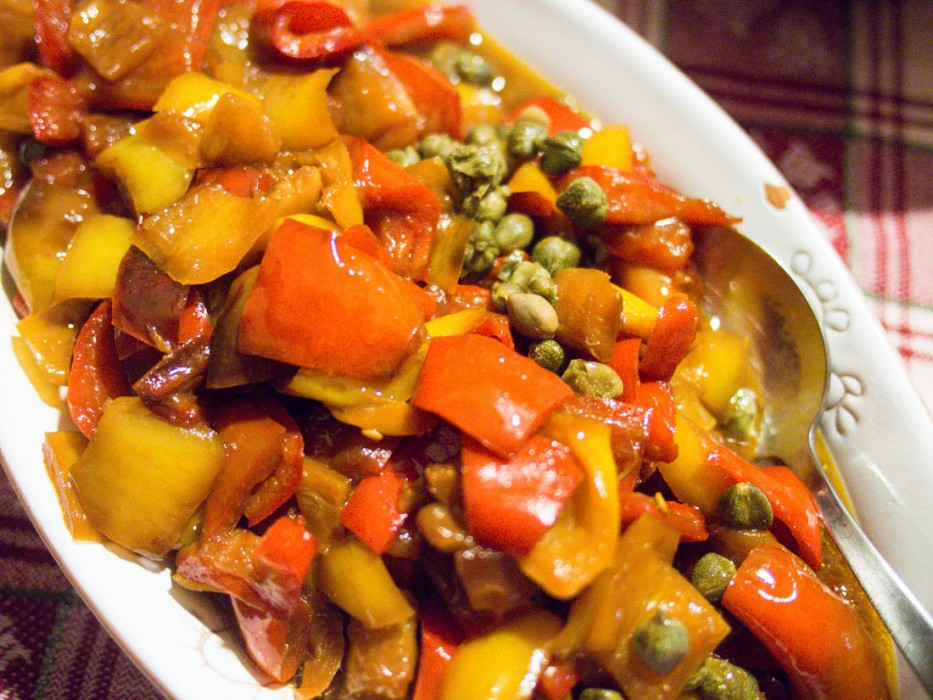Peperonata with peppers, tomatoes, onion and capers