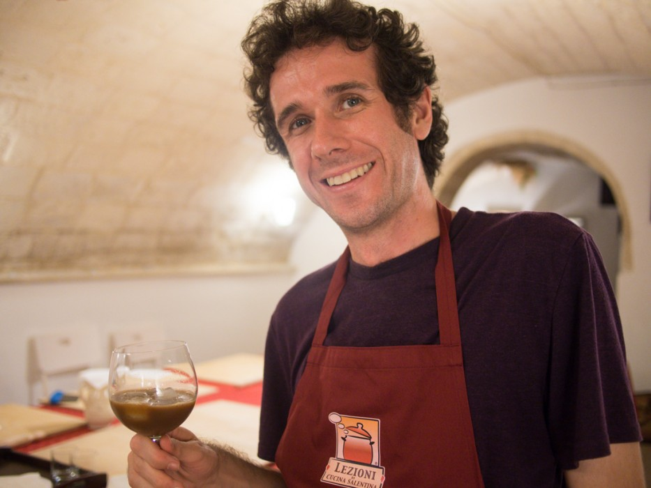Simon with his caffe Leccese