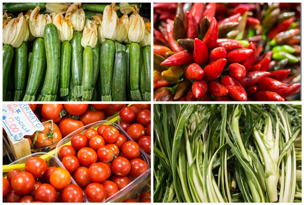 Courgettes, chiles, tomatoes and chicory at Lecce market