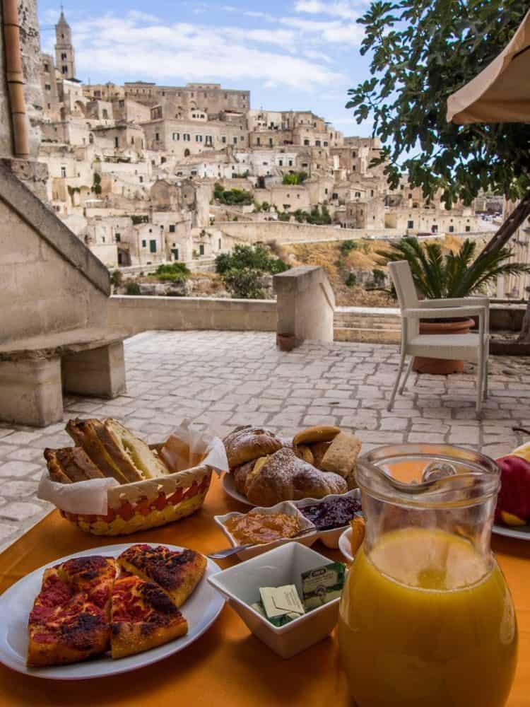 A typical Italian breakfast with a view at La Corte dei Pastori in Matera Italy.