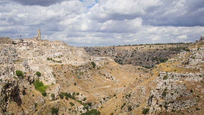 The sassi of Matera, Italy on the edge of a ravine
