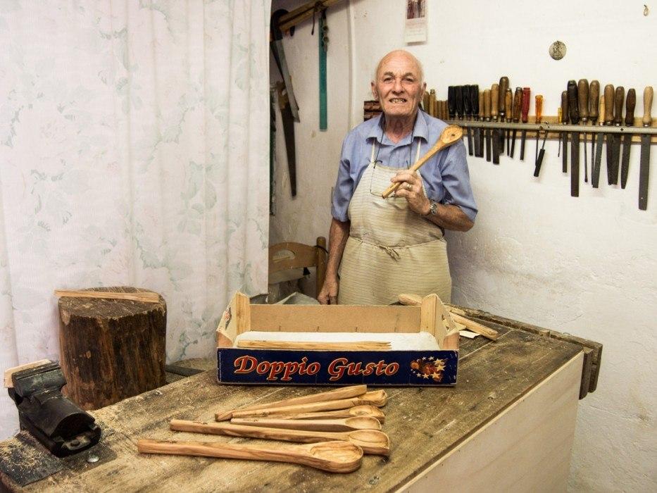 Olive wood workshop in Ostuni