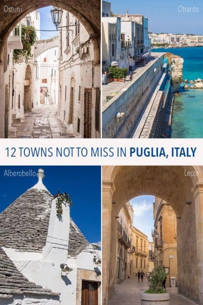 Puglia Italy is one of the most beautiful regions of Europe. These 12 diverse Puglian towns are the highlights of the area including Ostuni, Alberobello, Bari, Lecce, Otranto and more. Click through to plan your trip to Puglia.