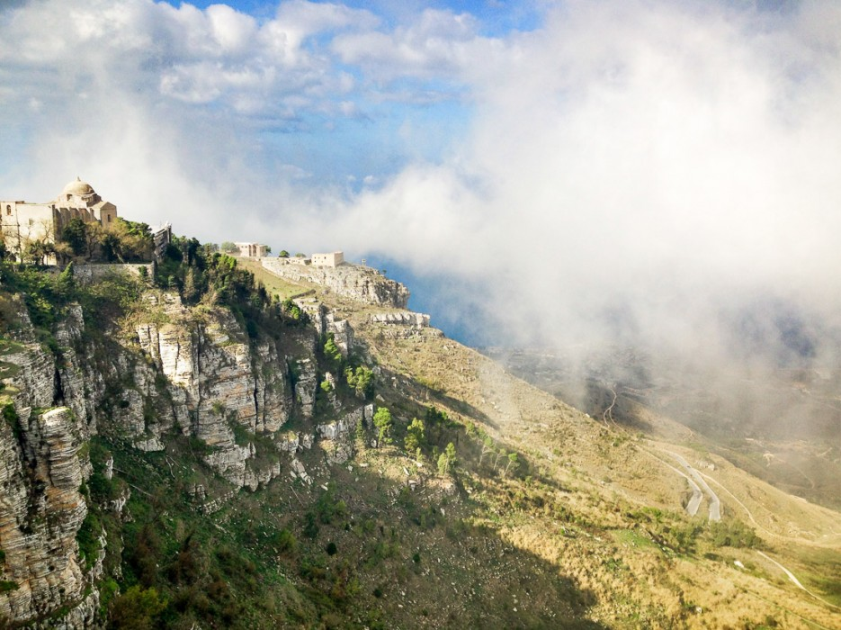 Fog rolling in to Erice's castle