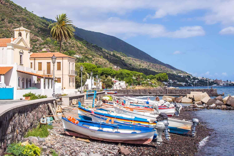 Lingua beach on Salina island, Sicily, Italy