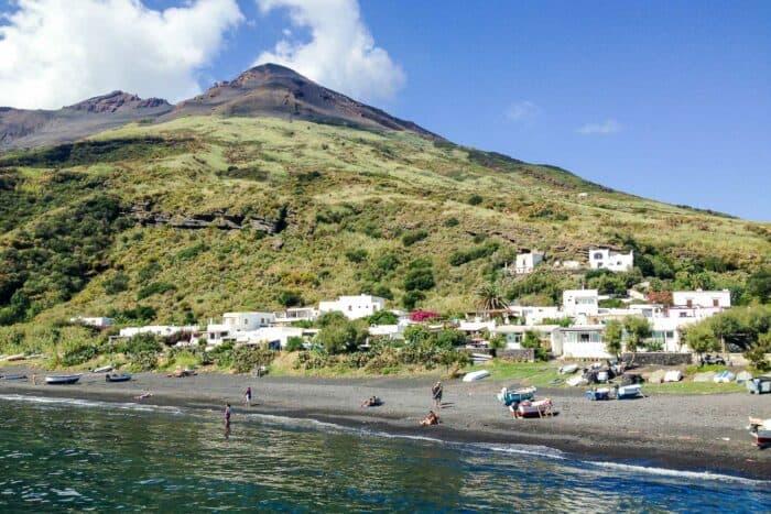 Black sand beach on Stromboli Island in the Aeolian Islands in Sicily