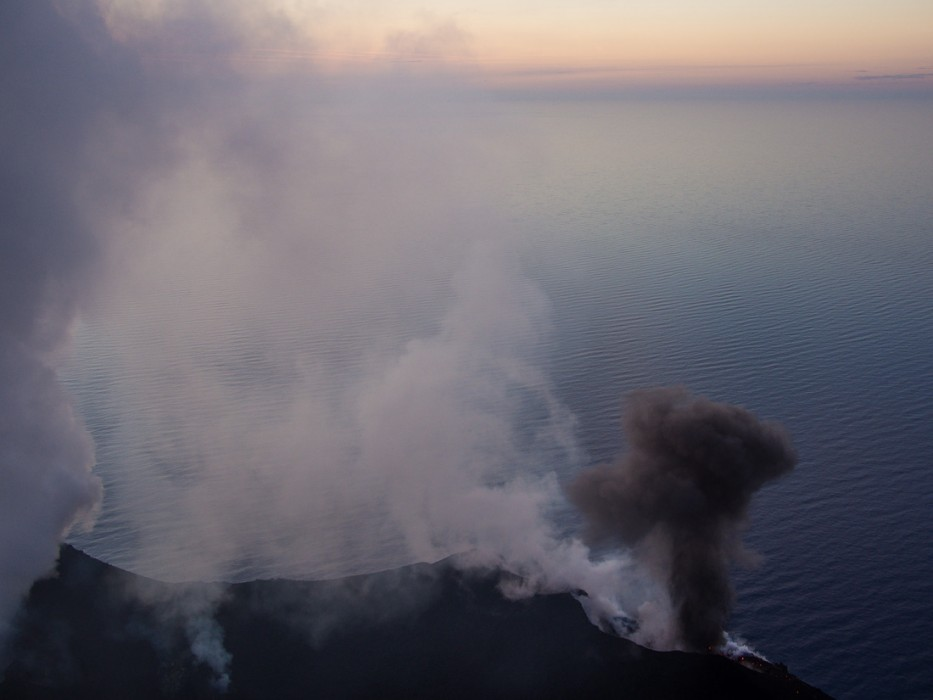 Black smoke erupting from the small crater, Stromboli