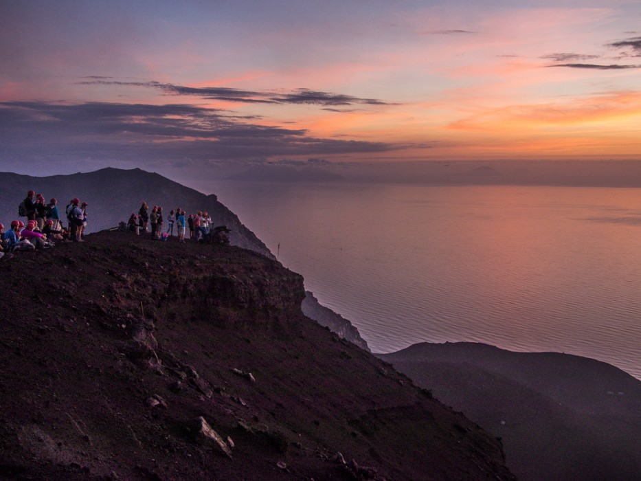 Hikers from another group waiting for an eruption, Stromboli
