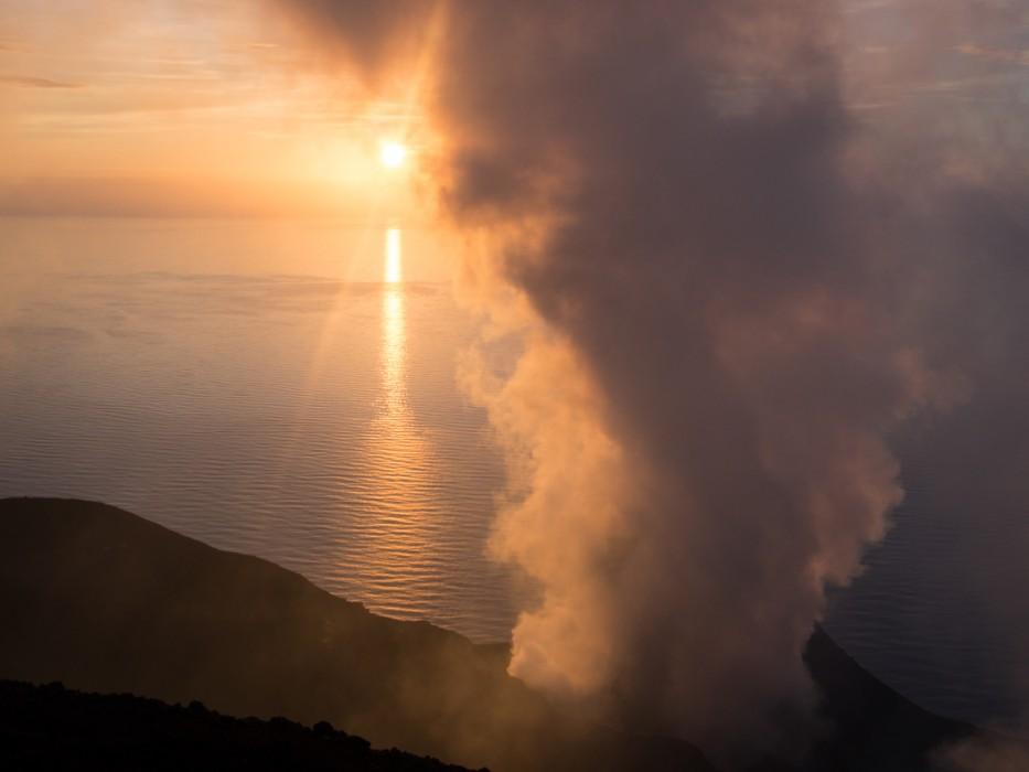 Stomboli volcano at sunset, Sicily