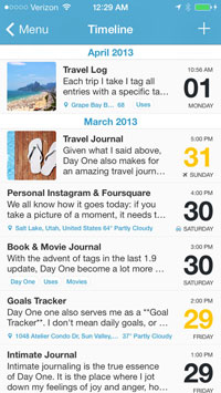 Screenshot of the iOS app Day One's interface