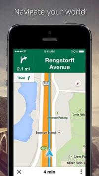 Screenshot of Google Map's iOS app