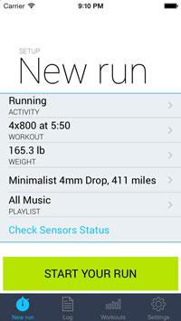 Screenshot of the iOS app iSmoothRun's interface