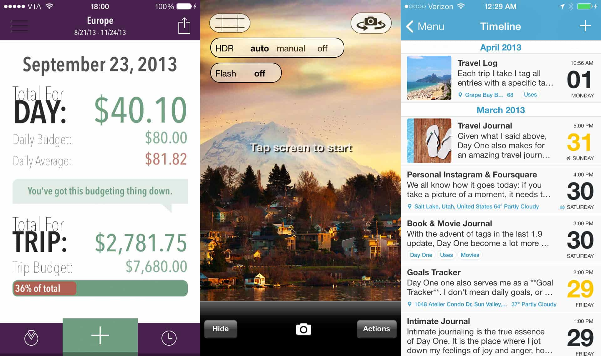 Screenshots of Trail Wallet, Pro HDR and Day One