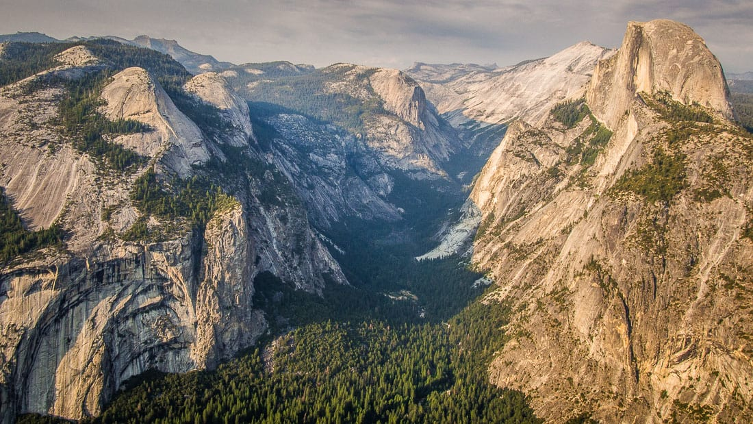 View down to the valley at Glacier Point, Yosemite in the summer