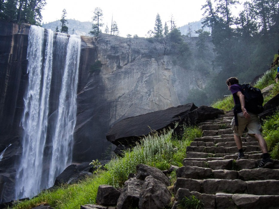 Simon hiking up the Mist Trail towards Vernal Falls - a highlight of our Yosemite 3 day itinerary in the summer