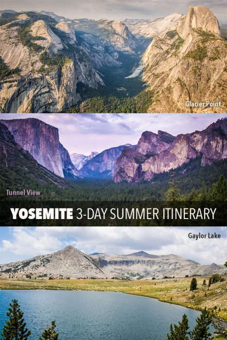 A Yosemite National Park 3-day itinerary for the summer months. Click through to learn how to avoid the crowds and make the most of a short stay in this stunning USA park. Featuring the Mist Trail and all the main areas of the park—Yosemite Valley, Glacier Point, Tioga Rd, & Mariposa Grove.