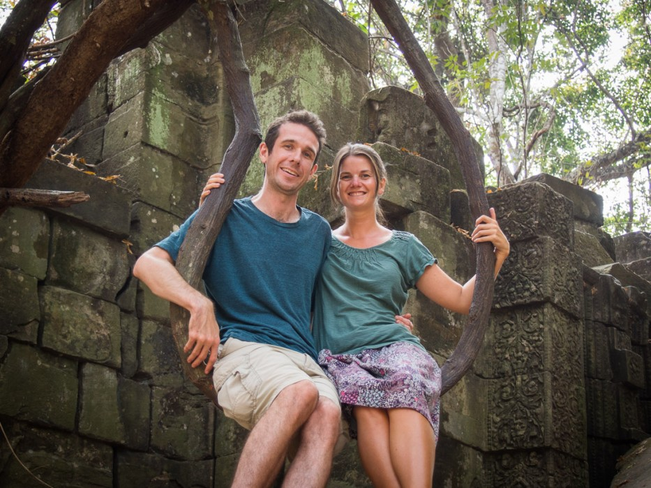 Us on a vine swing at Beng Mealea, jungle temple at Angkor, Cambodia