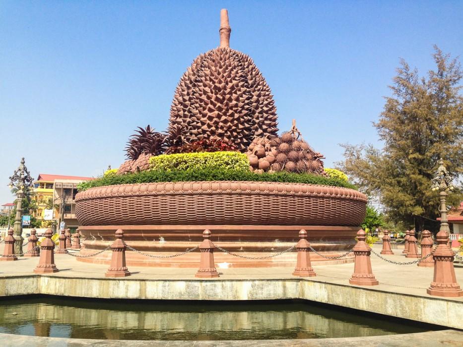 Kampot durian roundabout statue