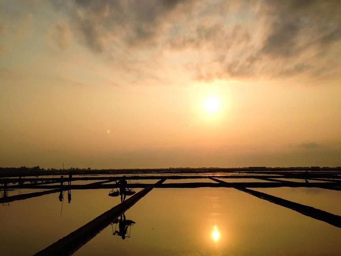 Salt fields, Kampot, Cambodia at sunrise