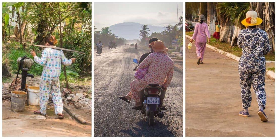Pyjamas as day wear in Cambodia