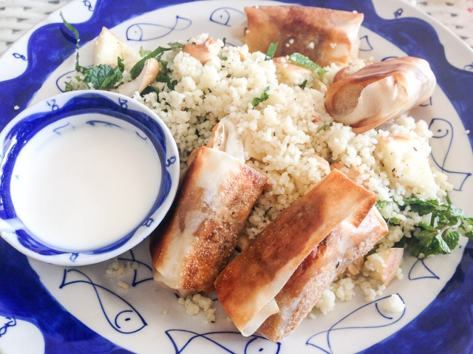 Moroccan eggplant rolls with couscous at Epic Arts Cafe