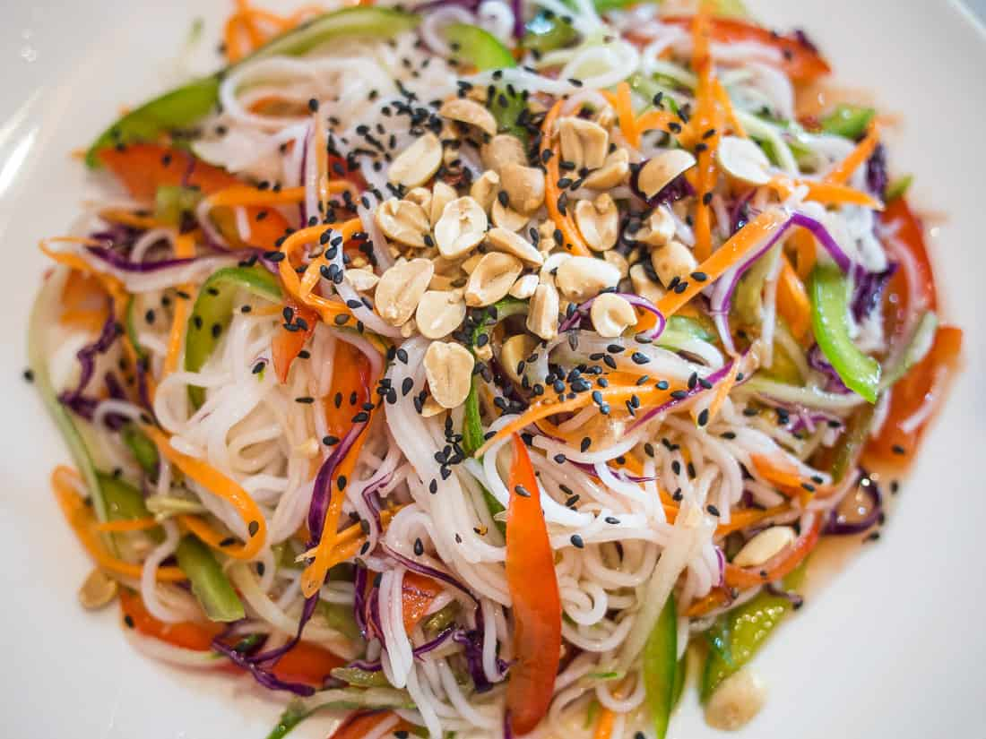 Kampot rice noodle salad at Cafe Soleil, Phnom Penh